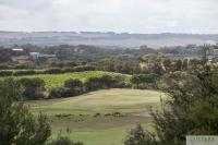 Looking over the Open Course and nearby vineyard from Lahinch Drive, Moonah Links